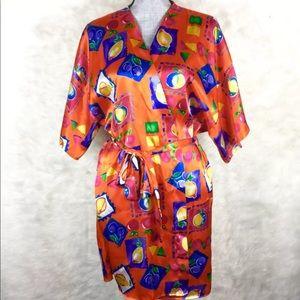 Vintage Vassarette Robe Fruit Print S M L XL